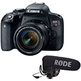 Canon EOS Rebel T7i DSLR Camera with 18-55mm Lens with Rode VideoMic Pro with Rycote Lyre Shockmount