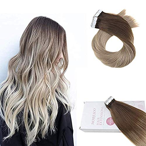 【Easter's Off Starts】Moresoo 16 Inch Hair Extensions Tape in Human Hair Remy Hair Extensions Tape in 100g/40pieces Balayage Color #4 Dark Brown Fading to #16 Golden Blonde Invisible Tape in Extensions 51RF6fsW1ZL