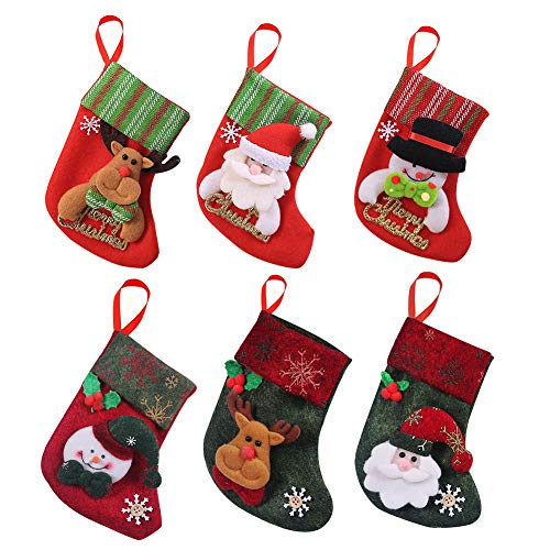 Royalbeier Christmas Stocking Kits Xmas Santa Reindeer Snowman Cartoon Stockings 3D Plush Christmas Tree Party Decoration Ornaments Gift Candy Bag (E-Mini Stocking) ()