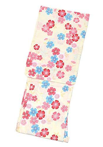 関数真鍮アーサーコナンドイル[ 京都きもの町 ] 女性 浴衣単品 赤ピンク×ブルー 撫子 綿浴衣 プレタ浴衣 お仕立て上がり浴衣 FS-B-13