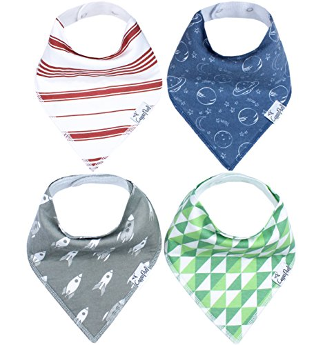 """Baby Bandana Drool Bibs for Drooling and Teething 4 Pack Gift Set For Boys """"Apollo Set by Copper Pearl"""