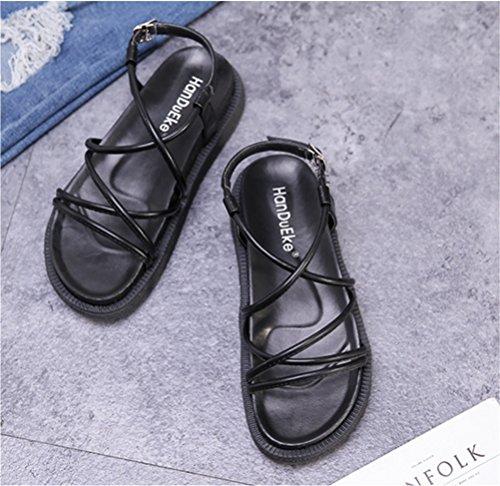 black Été Toe des Open Chaussures Femmes Décontractée NVXIE Bas Slingback Sandales Plage Fille Sangle Cheville Doux Appartement Confort wzxTEI