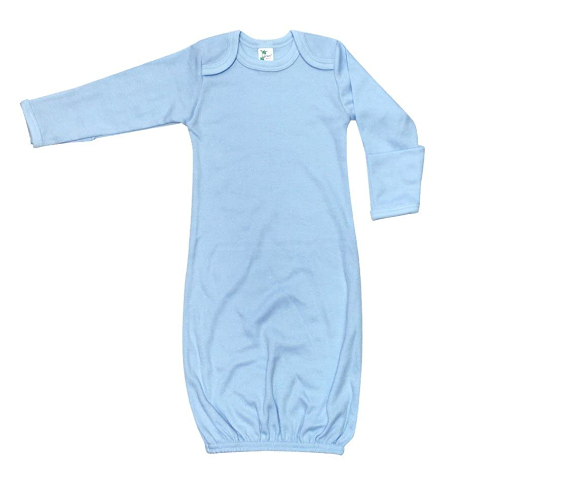 Laughing Giraffe Unisex Long Sleeve Baby Sleeper Gown with Mitten Cuffs (0-3M, Blue)