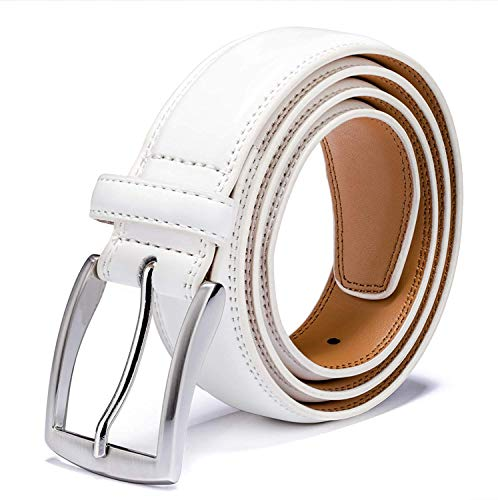 Leather Design White - Men's Genuine Leather Dress Belt with Premium Quality - Classic & Fashion Design for Work Business and Casual (esWhite, 32)