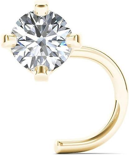 Amazon Com Jewelmore Diamond Nose Screw White Gold Yellow Jewelry