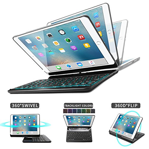 iPad 9.7 2018 6th Gen/iPad Air/iPad Air 2/iPad Pro 9.7/iPad 9.7 Keyboard Case,Dingrich 360 Degree Rotating Multi Angle Keyboard Case with 7 Color Backlit and Folio Stand Bluetooth Keyboard - Black