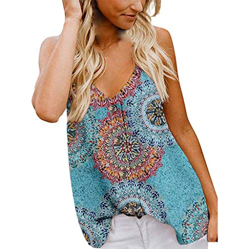 Women's Button Down V Neck Strappy Tank Tops Loose Casual Pleated Sleeveless Boho Cami Shirts Blouses Blue