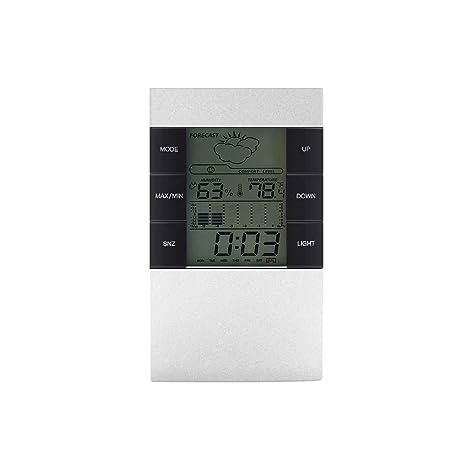 Elenxs Medidor de Humedad Relativa Reloj del contraluz del CX-506 LCD Digital termómetro higrómetro