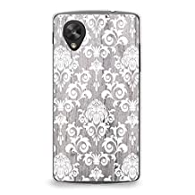 Case for Nexus 5, CasesByLorraine Wood Print Damask Floral Pattern Case Plastic Hard Cover for LG Google Nexus 5 (G11)