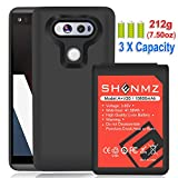 LG V20 Battery AexPower [10800mAh] Li-ion Replacement Battery for LG V20 BL-44E1F All Versions & Black Soft TPU Protective Case (More Than 3.3X Extra Battery Power)   LG V20 Extended Battery