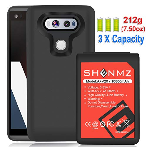 - LG V20 Battery AexPower [10800mAh] Li-ion Replacement Battery for LG V20 BL-44E1F All Versions & Black Soft TPU Protective Case (More Than 3.3X Extra Battery Power) | LG V20 Extended Battery