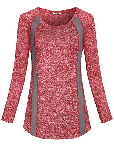 Hibelle Gym Tops for Women, Ladies Funny Yoga Running Sports Lightweight Outfits Crewneck Cozy Surrounding Clothes Long Sleeves Office Exercise Blouses Dressy Shirts Red XL -