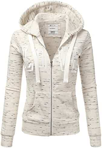992bf18651f Doublju Lightweight Thin Zip-Up Hoodie Jacket for Women with Plus Size