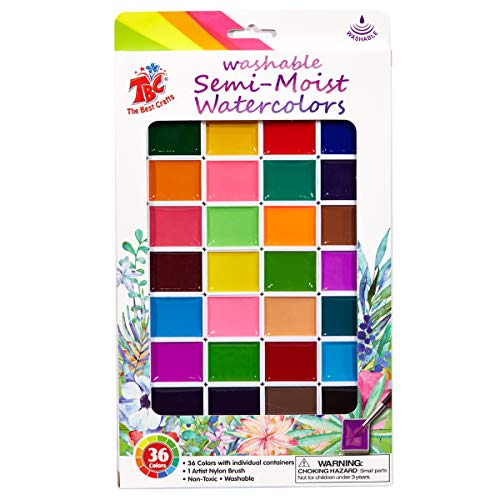 - Washable Semi Moist Watercolors, 36ct Colors Non-Toxic Paint Set, Paint Brush Included