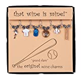 Wine Things 6-Piece Grand Slam Wine Charms, Painted