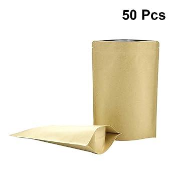 BESTONZON Bolsas de Papel con Cierre de Cremallera Bolsas de Papel Kraft Bolsas Verticales de Colores Bolsas de Comida con Muesca Tear 50pcs