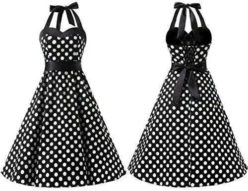 Dresstells® Halter 50s Rockabilly Audrey Black Blue Dot Retro Polka Dots Cocktail Dress rarRwTq