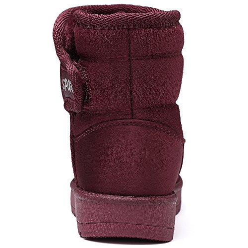 VILOCY Girl's Boy's Winter Outdoor Snow Boots Suede Slip-On Full Fur Lined Warm Ankle Shoes Red,36 by VILOCY (Image #5)