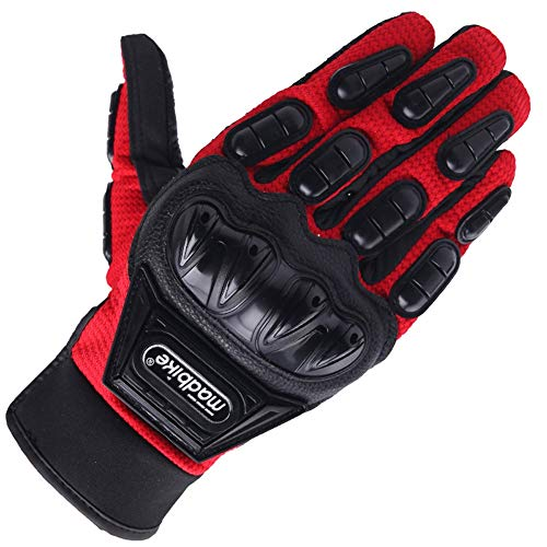 - Full Finger Motorcycle Gloves   Summer Motorcycle Ride Anti-Offroad Racing Knight Locomotive Tactical Gloves Four Seasons Cycling Touch Screen Men and Women (Color : Red, Size : M)