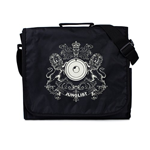 Junglist Crest Messenger Bag – Jungle Massive Coat Of Arms - Classic Style Record Drum and Bass DJ LP Vinyl Records Shoulder (One - Record Dj Shoulder