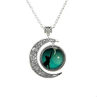 Gato Negro Luna Colgante, collar de gato negro, gato negro, Joyas Luna Collar Cristal Art Picture: Amazon.es: Joyería