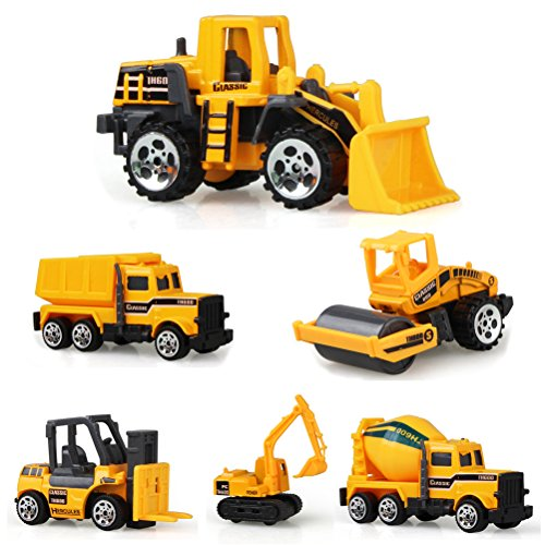 Odowalker Assorted Construction Vehicles Trucks Sand Box Toys Cute Mini Cars Excavator Cement Truck Dumper Tank Truck Bulldozer Forklift for Kids 3 Years and Above (6pcs)