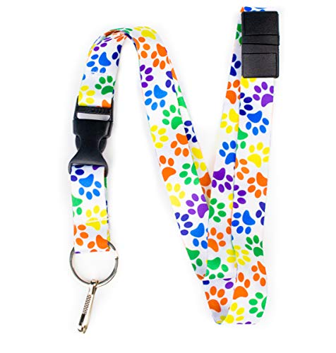 - Limeloot Paw Print Premium Lanyard with Breakaway, Release Buckle, and Flat Ring.