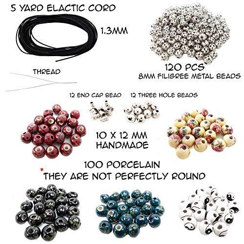 8mm Round Bead Metal Beads Elastic Cord Handmade Bracelet Jewelry Making Kit