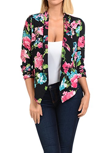 Auliné Collection Womens Floral Casual Lightweight 3/4 Sleeve Fitted Open Blazer Floral Print 29 Large