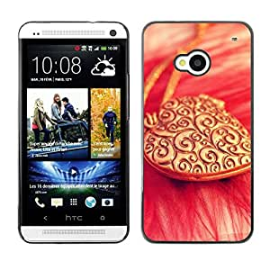 LECELL -- Funda protectora / Cubierta / Piel For HTC One M7 -- Love Gold Necklace Heart --