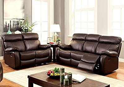 1PerfectChoice 2 pcs Elegant Plush Sofa Set Couch Loveseat Recliner Brown Top Grain Leather
