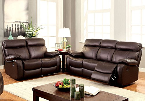 1PerfectChoice 2 pcs Elegant Plush Sofa Set Couch Loveseat Recliner Brown Top Grain Leather (Couch And Loveseat Sets Brown)