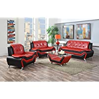 US Pride Furniture 4 Piece Modern Bonded Leather Sofa Set with Sofa, Loveseat, Chair, and Coffee Table, Red/Black