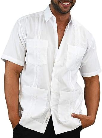 Camisa de Manga Corta para Hombre, Estilo Guayabera, Plisada, Bordada, Estilo Cubano, Blusa Lisa: Amazon.es: Ropa y accesorios