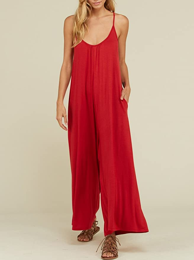 Amazon.com: Imily Bela Womens Wide Leg Jumpsuits Spaghetti Strap Halter Loose Rompers: Clothing