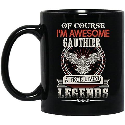 Funny name gifts mug For Men, Women- I'm Awesome GAUTHIER - Gag gift ideas mug ForHusband, Dad- On Christmas, Black 11oz capacity and perfect - Energy Gift Basket