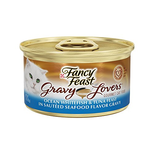 Fancy Feast Gravy Lovers Gourmet Ocean Whitefish & Tuna Feast In Seafood Flavor Gravy Cat Food 24 – 3oz Cans For Sale