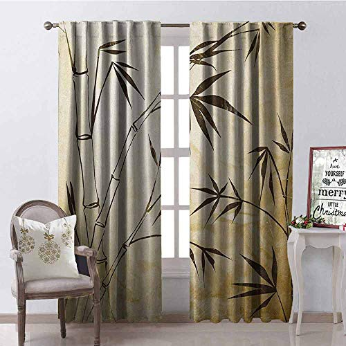 GloriaJohnson Bamboo Shading Insulated Curtain Gradient Bamboo Leaves Flexibility Complex Root Structure Stable Travelers Image Soundproof Shade W42 x L84 Inch Brown Cream
