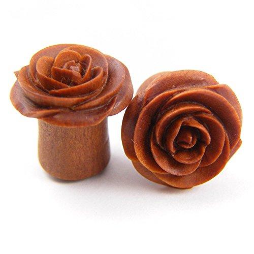 Rose Flower Ear Gauge Plugs - (0g) - Sawo / Sabo Wood
