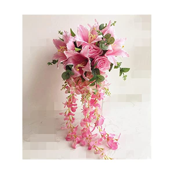 jiumengya ONE Waterfall Bride Bouquet Artificial Rose Lily Wisteria Vine Wedding Bridal Bridesmaids Bouquets (Pink)