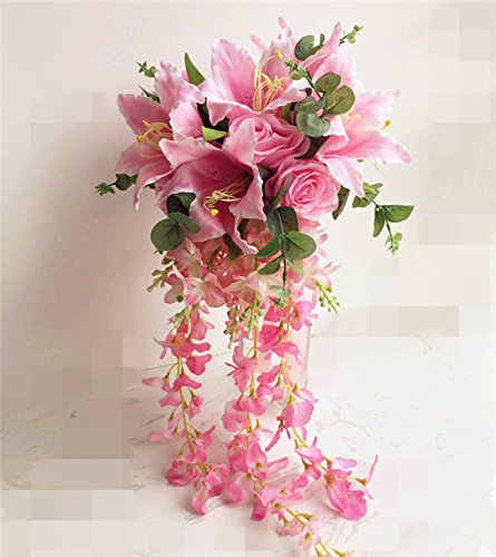 - jiumengya ONE Waterfall Bride Bouquet Artificial Rose Lily Wisteria Vine Wedding Bridal Bridesmaids Bouquets (Pink)