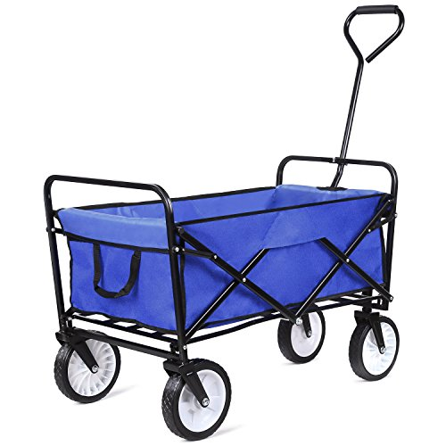 femor Heavy Duty Garden Cart, Collapsible Folding Outdoor Utility Wagon for Shopping Beach Outdoors, Blue