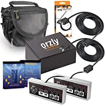 NES Mini Classic Controller Extension Cables, Controllers, Storage Bag - Orzly Accessories Essentials Pack for NES Nintendo Classic Mini Console - 1x Black Travel Bag, Controllers (x2), Cable (x2)