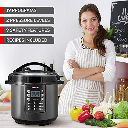 MUELLER Pressure Cooker Crock 10-in-1 Pot Series with German ThermaV Cook Once, BONUS LID, Saute, Rice, Sterilizer
