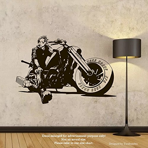 Harley Davidson Chopper Wall Decals Biker On A Motorcycle Stickers Decorative Design Ideas For Your Home or Office Walls Removable Vinyl Murals EC-1214 ()