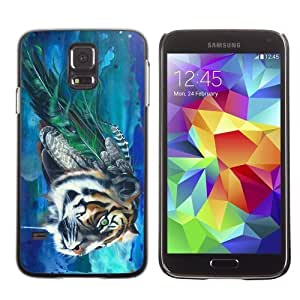 Licase Hard Protective Case Skin Cover for Samsung Galaxy S5 - Beautiful Tiger Painting Art