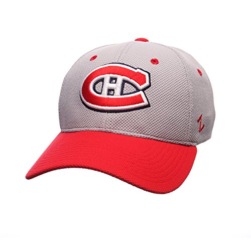 Zephyr NHL Montreal Canadiens Men's The Athlete Z-Fit Hat, Medium/Large, Grey/Red