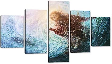 Jesus Hands Reaching Into Water Canvas Wall Art 5 Pieces Religious Poster Picture Giclee Artwork Stretched Gallery Canvas Wrap Giclee Print