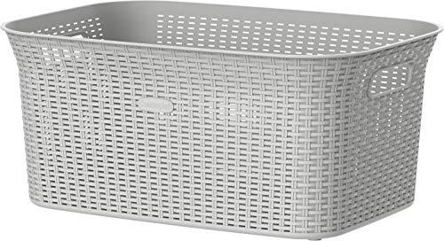 Cosmoplast 50L Cedarattan Laundry Basket, Off White