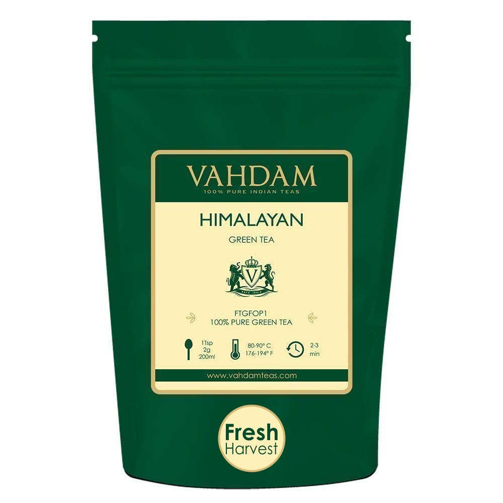 VAHDAM, Green Tea Leaves from Himalayas (100+ Cups) 9oz Bag - 100% Natural Weight Loss Tea & Slimming Tea - Powerful Anti-OXIDANTS, Brew Hot Tea, Iced Tea or Kombucha Tea, Green Tea Loose Leaf by VAHDAM
